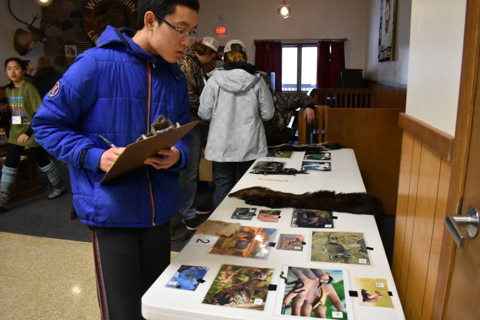 A student with clipboard closely examines photos at an identification station.